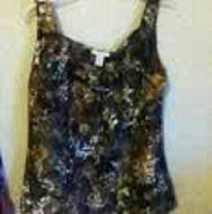 J.Crew Printed Silk Camisole With Fabric Rose Detail Size S