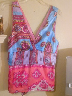 SALE! Alice & Trixie Hand Printed Sleeveless Silk Top in Pinks and Blues Size L