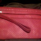 Hot Pink Banana Republic Genuine Leather Zip Pouch Wristlet