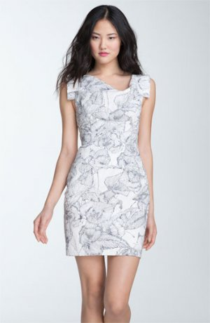 BLOWOUT!NWT Celebrity Favorite Black Halo Jackie Dress in Jacquard Floral Print Mini Size 12