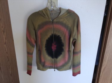 SALE! Anthropologie 100% Cashmere Zip Front Tie Dyed Hooded Sweater by One Girl Who