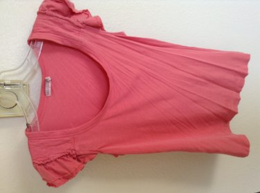 Juicy Couture Simple Pink Ruffle Sleeve Tee Size S