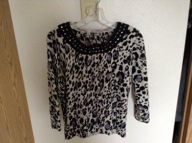 SALE Nordstrom's Semantiks Merino Wool Leopard Print Sweater With Rhinestones & Sequins P/L