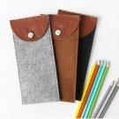 Brazil cattle leather vertical shaped pencil case glasses bag