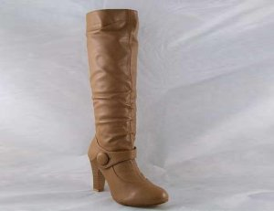 LADIES TAN KNEE HIGH BUTTON FASHION BOOTS