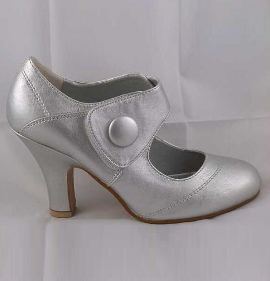 LADIES CLASSIC MEDIUM HEEL VELCRO SECURE FASHION COURT SHOES SILVER