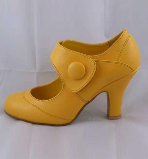 LADIES CLASSIC MEDIUM HEEL VELCRO SECURE FASHION COURT SHOES YELLOW