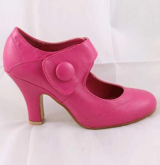 LADIES CLASSIC MEDIUM HEEL VELCRO SECURE FASHION COURT SHOES FUSHSIA