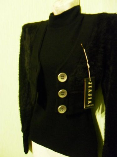 BLACK TOP AND FLUFFY BOLERO JACKET SMART AND SEXY NEW AND PERFECT