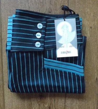 BERJER FASHION CULOTTES TROUSERS BLUE ON BLACK NEW AND PERFECT WITH LABELS SIZE WAIST 27 INCHES