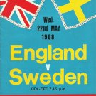 ENGLAND SWEDEN WEMBLEY 22nd MAY 1968 FOOTBALL PROGRAMME