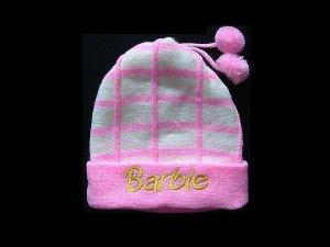 BARBIE STYLISH WINTER WARM HAT WITH TWO POM POMS BLUE