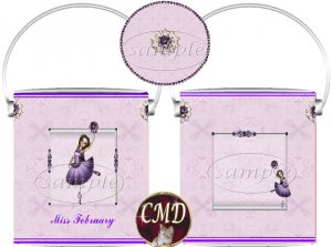 Ballerina Birthstone Gift Can - template - FEBRUARY