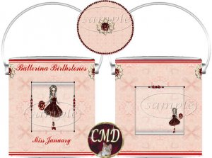 Ballerina Birthstone Gift Can - template - JANUARY