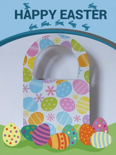Easter Packaging - 6 paper handled bags - Easter egg pattern- FREE SHIPPING
