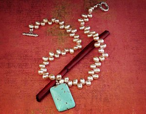Fresh water pearls and turquoise pendant