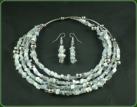 Grey cat eye Necklace and Earrings
