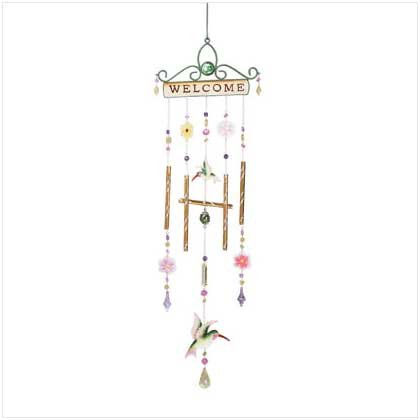Metal Welcome Hummingbird Windchimes
