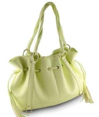 Designer inspired large pu leather yellow large handbag purse