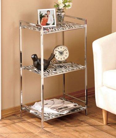 Zebra Print 3 Shelf Glass & Metal Storage Unit for Bathroom Kitchen Bedroom