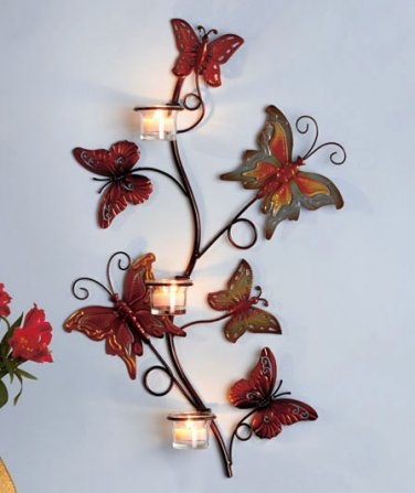 Butterfly 2 feet tall Candle Sconce or Wall Hanging metal art wall decor
