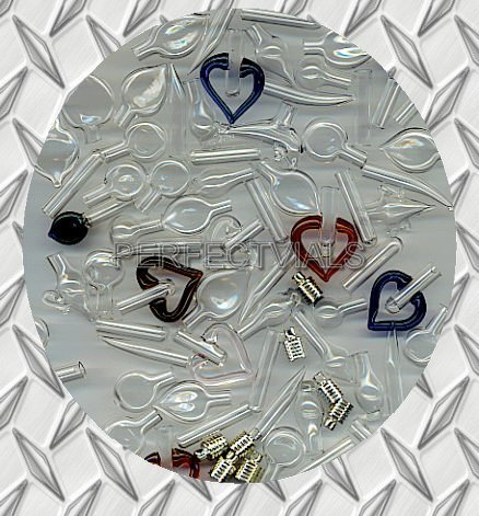 WHOLESALE GLASS VIALS PENDANTS~CHARMS ASSORTMENT KIT (50)