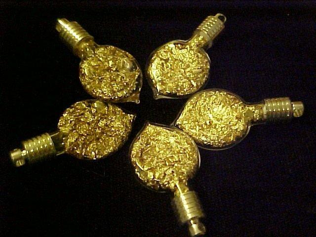 8 lot GLASS HEART TEARDROP PENDANTS~CHARMS ~KIT GOLD~