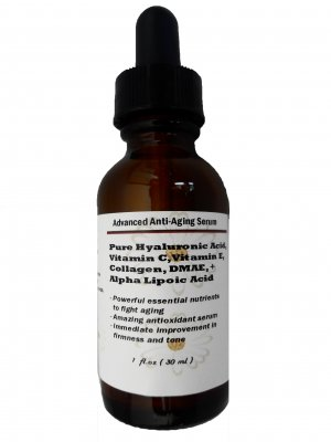 Advanced Anti-Aging Serum with Pure HA, Vit.C+E+Collagen +DMAE+Alpha Lipoic Acid 1 oz