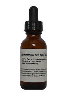 4 oz Super Intensive Anti-Aging Serum-100% Pure HA,Vitamin C,E,MSM, DMAE