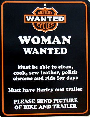 HARLEY WOMAN WANTED PARKING SIGNS