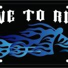 BLUE FLAMES CHOPPER LIVE TO RIDE BIKER LICENSE PLATES