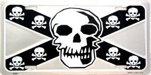 CONFEDERATE FLAG SKULL LICENSE PLATES