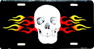 SKULL AND FLAME LICENSE PLATES
