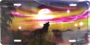 AIR BRUSHED HOWLING WOLF SCENE LICENSE PLATES