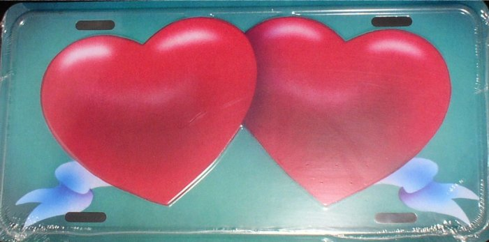 AIR BRUSHED TWO HEARTS WITH RIBBON LICENSE PLATES