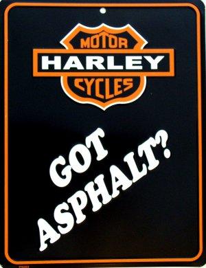 HARLEY DAVIDSON GOT ASPHALT PARKING SIGNS