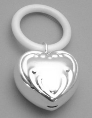 Silver Plated Puffed Heart Rattle