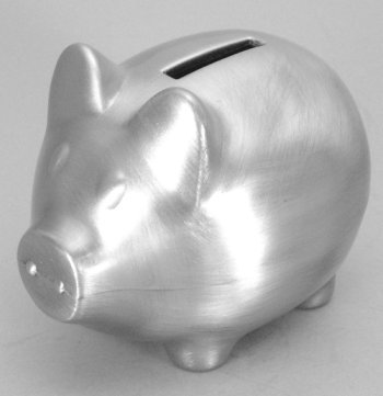 "Pewter Finish ""Little Piggy"" Bank"