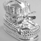 Silver Plated Baby Bootie Bank