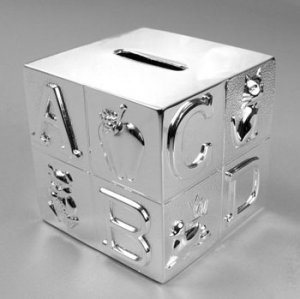 Nickel Plated Alphabet Block Bank