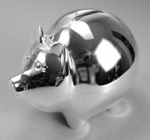 Nickel Plated Piggy Bank