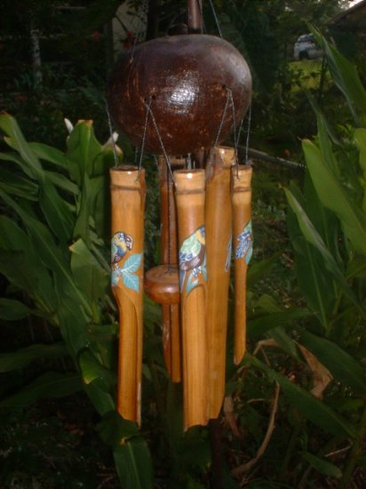 Parrot BIRD WIND CHIME Bamboo garden home gift