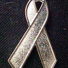 Brain Cancer Silver Awareness Ribbon Lapel Pin Tac New