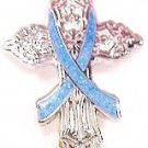 Stomach Cancer Awareness Periwinkle Ribbon Religious Cross Church Lapel Pin New