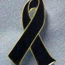 Black Cancer Awareness Ribbon Funeral Support Pin New