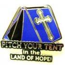 Spiritual Awareness Faith Hope Cross Blue Pitch Tent Land of Hope Inspire Pin