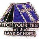 Spiritual Awareness Faith Hope Cross Purple Pitch Tent Land of Hope Inspire Pin