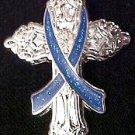 Colitis Awareness Blue Ribbon Religious Cross Inspirational Church Lapel Pin New