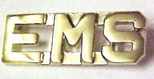 """EMS Collar Pin Set Nickel Cut Out Letters 3/8"""" Emergency Medical Services 2467"""
