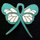 OCD Obsessive Compulsive Disorder Awareness Teal Ribbon Butterfly Ribbon Pin